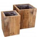 wholesale Garden & DIY store: Wooden bucket Harvey, set of 2, D30 / 23cm, natura